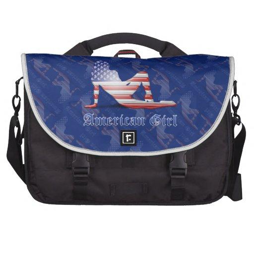 Drapeau américain de silhouette de fille sac pour ordinateur portable