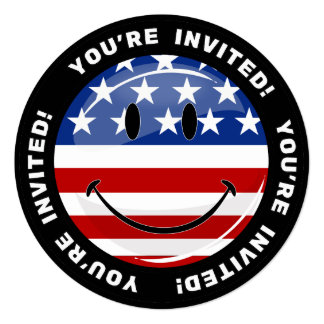 Drapeau américain de sourire de rond brillant carton d'invitation  13,33 cm