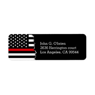 Drapeau américain de style de pompier personnalisé étiquettes d'adresse retour