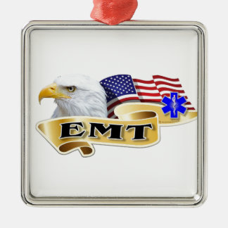 Drapeau américain d'Eagle de fierté d'EMT Ornement Carré Argenté