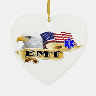 Drapeau américain d'Eagle de fierté d'EMT Ornement Cœur En Céramique