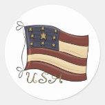 Drapeau américain des Etats-Unis Sticker Rond