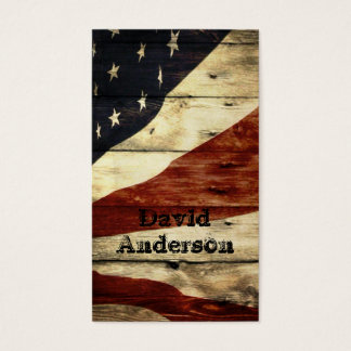 Drapeau américain en bois de grange americana cartes de visite