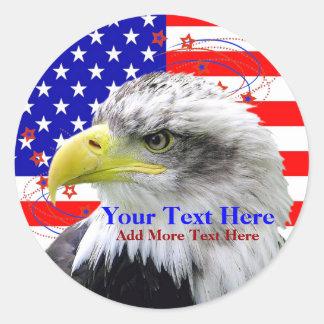 Drapeau américain et autocollants d'Eagle