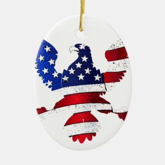 Drapeau américain et Eagle Ornement Ovale En Céramique