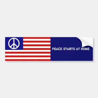Drapeau américain et signe de paix autocollant de voiture