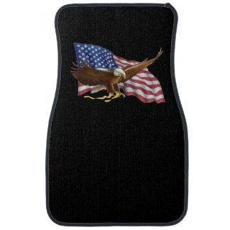 Drapeau américain et tapis noirs de voiture et de