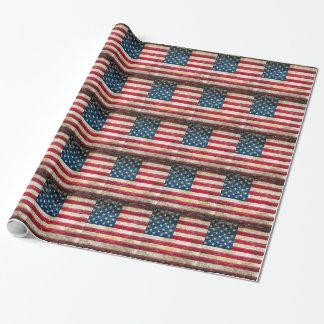 Drapeau américain grunge papier cadeau