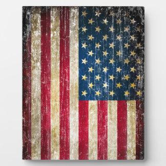 Drapeau américain grunge plaque photo