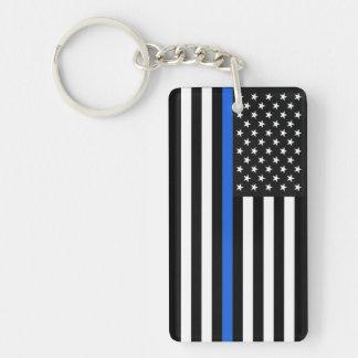 Drapeau américain mince de Blue Line Porte-clés