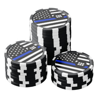 Drapeau américain mince de Blue Line Rouleau De Jetons De Poker