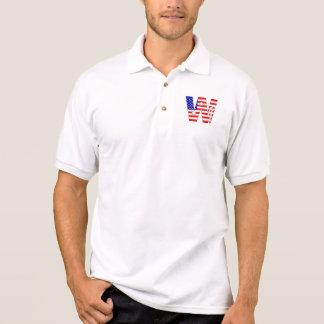 Drapeau américain, monogramme W de bannière étoilé T-shirt