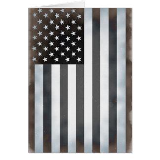 Drapeau américain noir et blanc des USA Carte De Vœux