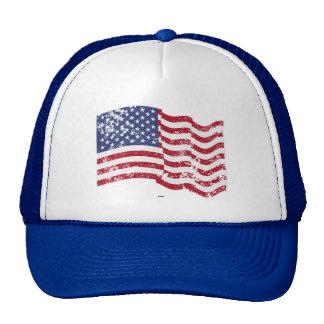 Drapeau américain ondulant - affligé casquettes