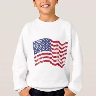Drapeau américain ondulant - affligé sweatshirt
