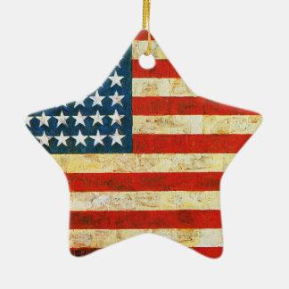 Drapeau américain ornement étoile en céramique