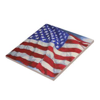Drapeau américain - tuile de cuisine petit carreau carré