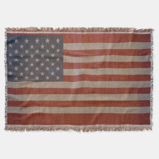 Drapeau américain vintage couvre pied de lit