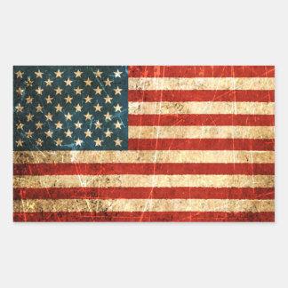 Drapeau américain vintage rayé et porté sticker rectangulaire