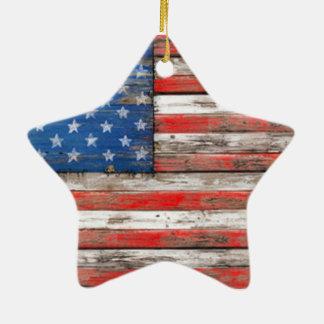 Drapeau americana ornement étoile en céramique