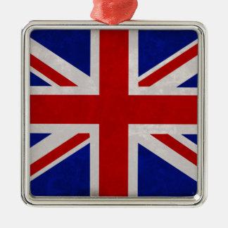 Drapeau Anglais d'Angleterre texturé Ornement Carré Argenté