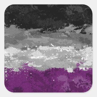 Drapeau asexuel d'éclaboussure de peinture sticker carré