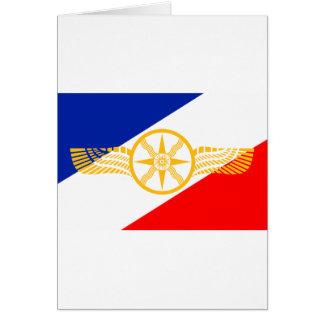 Drapeau assyrien, drapeau chaldéen, drapeau de carte de vœux