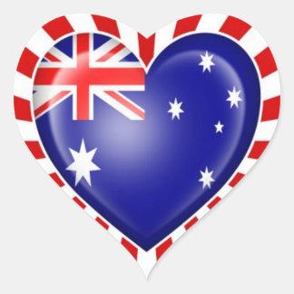 Drapeau australien de coeur avec l'éclat d'étoile autocollant en cœur