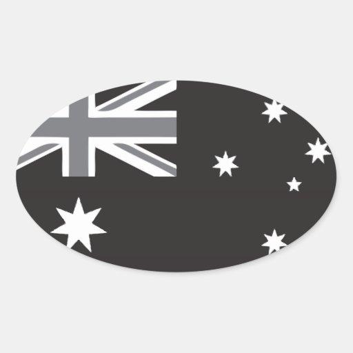 drapeau australien noir et blanc sticker ovale zazzle. Black Bedroom Furniture Sets. Home Design Ideas