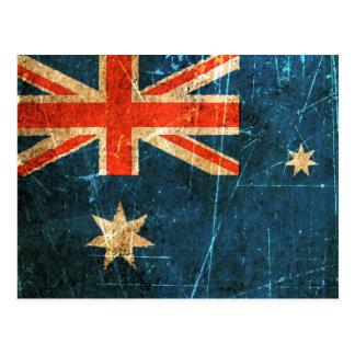 Drapeau australien vintage rayé et porté carte postale