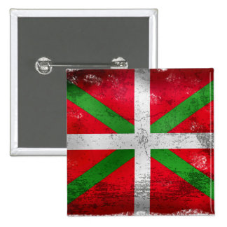 Drapeau Basque affligé de style : Ikurriña, Badge Carré 5 Cm