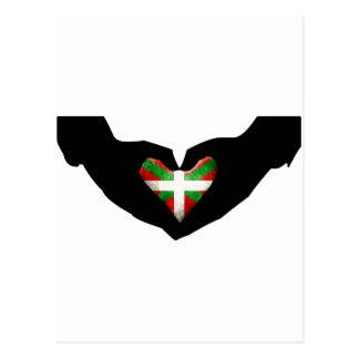 Drapeau Basque et main Cartes Postales