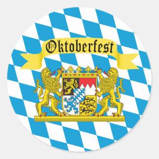 Drapeau bavarois coloré Oktoberfest Sticker Rond