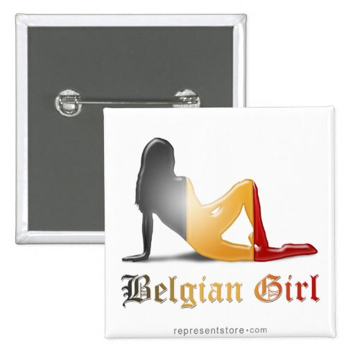 Drapeau belge de silhouette de fille pin's