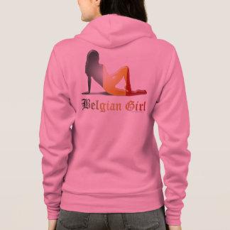 Drapeau belge de silhouette de fille veste à capuche