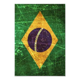 Drapeau brésilien vintage rayé et porté carton d'invitation 8,89 cm x 12,70 cm