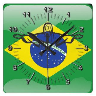 Drapeau brillant brésilien horloge carrée