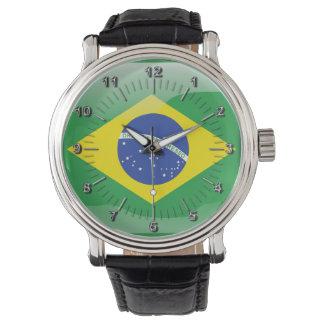 Drapeau brillant brésilien montres cadran