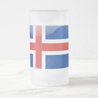 Drapeau brillant islandais frosted glass beer mug