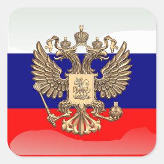 Drapeau brillant russe sticker carré