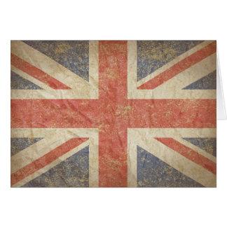 Drapeau britannique affligé carte de vœux