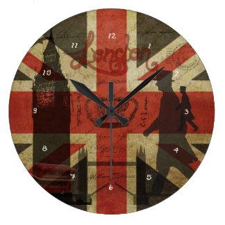 Drapeau britannique, autobus rouge, Big Ben et aut Grande Horloge Ronde