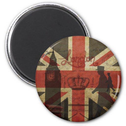 Drapeau britannique, autobus rouge, Big Ben et aut Aimant