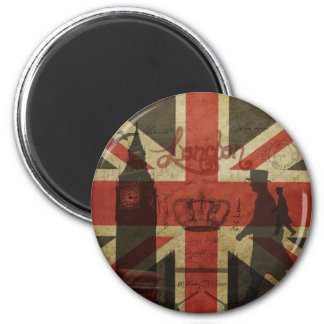 Drapeau britannique, autobus rouge, Big Ben et aut Magnet Rond 8 Cm