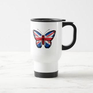 Drapeau britannique de papillon mug de voyage