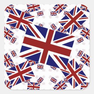 Drapeau BRITANNIQUE d'Union Jack dans les couches Sticker Carré