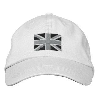 Drapeau BRITANNIQUE d'Union Jack en noir et blanc Casquette Brodée