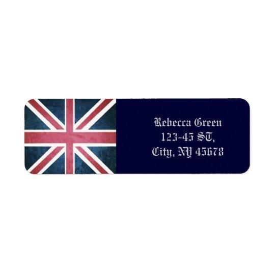 Drapeau britannique grunge de cric des syndicats étiquettes d'adresse retour