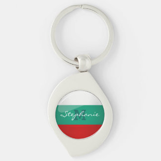 Drapeau bulgare rond brillant porte-clés