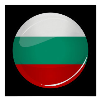 Drapeau bulgare rond brillant poster